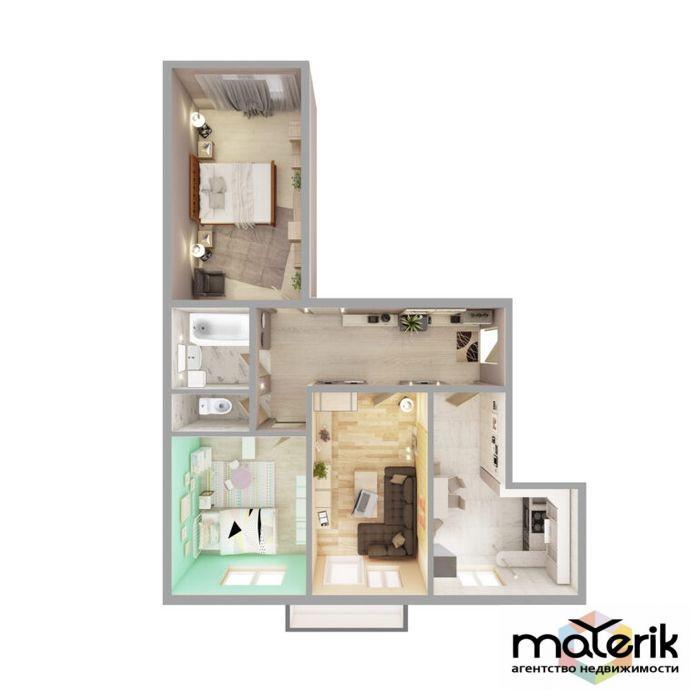продажа трехкомнатной квартиры номер A-157084 в Суворовском районе, фото номер 7